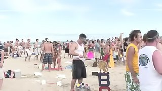 Gorgeous amateurs partying at the beach show us their tits