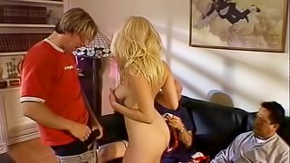 Sweet blonde is happy to ride a guy's prick in front of her lover