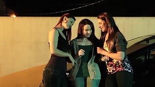 Smoking Hot Lesbian Three-way In The Alley