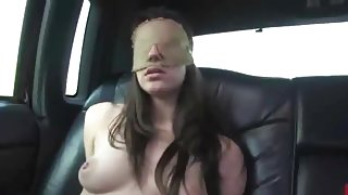 Blindfolded bitch gets fingered and tied