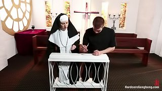 Petite Blonde Lives out Fantasy: Nun Gangbanged by 5 Priests in Chapel