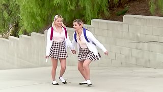 Slutty blondes in plaid miniskirts get fucked together
