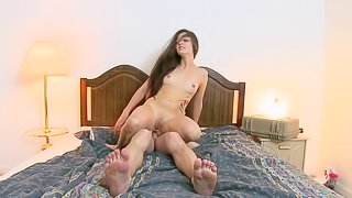 Long Haired Teen Bounces on a Cock