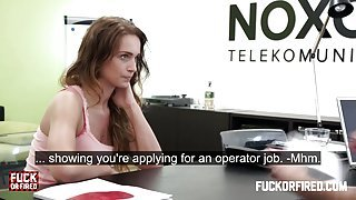Slut getting fucked hard in a job interview