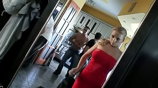 Steliana the cute blonde babe gets double penetrated