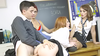 Sexy girls are welcoming a new student with a hot orgy