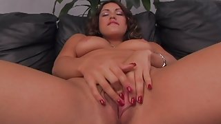 Girl with natural tits spreads and rubs her vagina