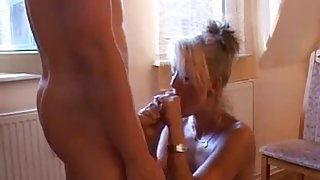 Boy playing with her sexy mom