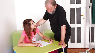 TrickyOldTeacher - Challenged student sucks and pussy fucked by tempted older teacher