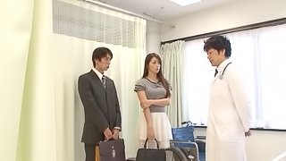 A wild Asian couple fucks like crazy in a doctor's exam room