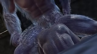 Hairy 3D beast sucks cock before getting restrained and fucked