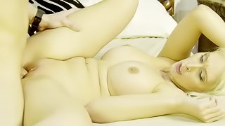 Flaming whore impudently uses budding man to please hungry pussy