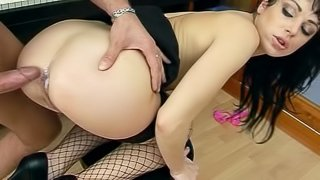 Thick dick savages her asshole and leaves a creampie inside