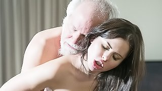 Teen Interrupts Grandpa from Yoga And Sucks his Cock wet and hard