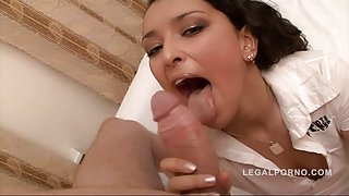 Irresistible brunette babe gets her tight asshole ripped apart