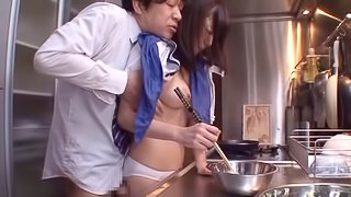 Two guys fuck a Japanese girls while she cooks breakfast