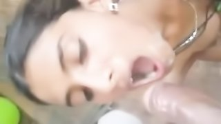 Indian bf blows his load in girlfriend's mouth