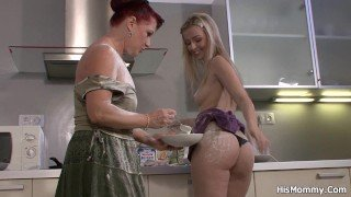 Lesbian mom girl toying on the kitchen