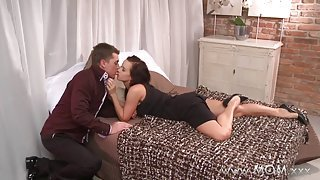 Sexy brunette cougar with big tits fucked really hard