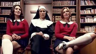 Two nasty students get punished and fucked by a nun