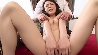 Mature Japanese pornstar with small tits masturbating then gets nailed doggystyle