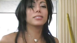 Alluring brunette with sexy long legs and amazing tits is horny as hell