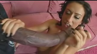 Curly brunette Ricki White is fucking with gigantic dick