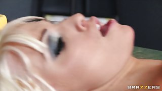 Breathtaking golden-haired bitch Rikki Six is caught spanked and drilled