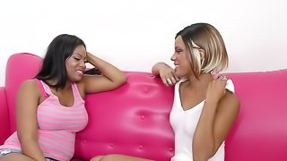 Lesbian couple go down on each other on the couch hardcore