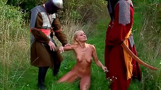 Soldiers and a skinny blonde have a threesome in the grass
