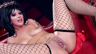 Witchy babe in black spit roasted by big dick guys