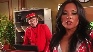 Asian brunette in stockings gets her anal plumbed hardcore in story clips
