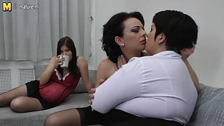 Pregnant daughter fucked by not her mom and mom