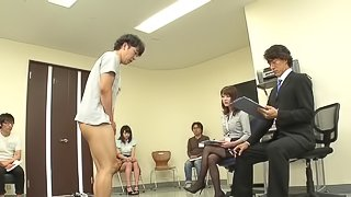 Japanese handjob and blowjob at a job interview with a beauty