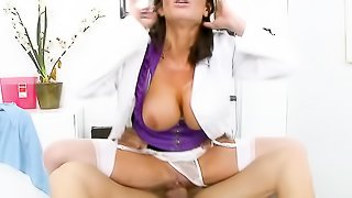Doc in a purple top casts her white thong aside to get a nice dicking from a patient.