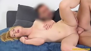 Softcore blonde photo model tries adult sex casting