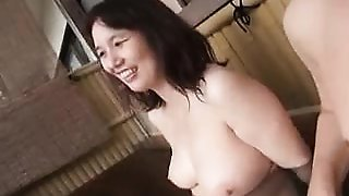 Stacked Japanese wife gives a nice blowjob and takes a deep