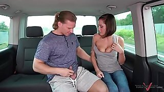 Super hot pokemon hunter busty babe convinced to fuck stranger in driving van