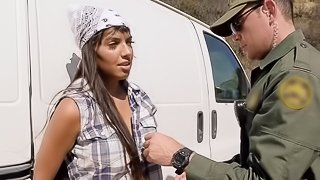Busty Latina babe and a border patrol agent fucking in a van