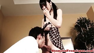 Amateur asian tranny in lingerie gets blowjob