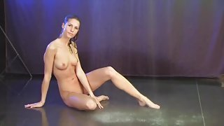 Passionate blonde is showing solo skills
