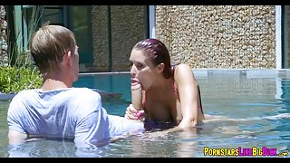 Sucking a Huge Cock in the pool