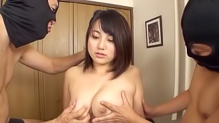Busty Asian cutie gets her tits licked and her twat pleasured