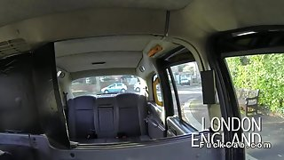 Beautiful Brit gags big cock in cab in public pov