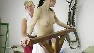 Helpless dark-haired gal has to expereince BDSM pain