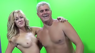 Pretty blonde is fucking on the leather sofa