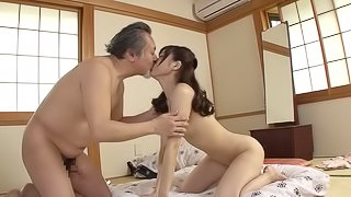 Old man re-lives 1930s with fresh pussy by a skinny Japanese bimbo