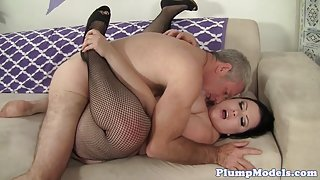 Cockriding plumper trying to make a cock cum