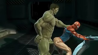 3D cartoon Spiderman getting blown and fucked by The Hulk