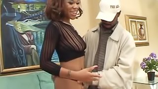 Horny ebony babe gets her hairy pussy fingered while being rammed anal